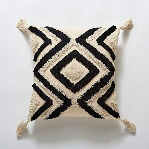 JONJUMP Funda de cojín bohemio, diseño geométrico marroquí, 45 x 45 cm, funda de almohada decorativa para sofá cama, decoración del hogar