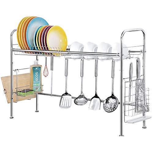 Stainless Steel Dish Drying Rack Nonslip Height Adjustable with Chopstick Holder (Double Sink) Deluxe Rustproof Dish Drainers for Kitchen Counter (Single Layer)