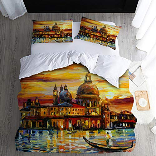 Duvet Cover Set King-RowerZipper Closure with 2 Pillow covers Bedding Set Ultra Soft Hypoallergenic Microfiber Quilt Cover Sets
