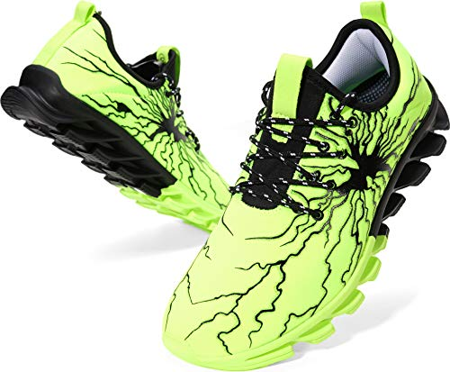 BRONAX Mens Fashion Sneakers Slip on Lightweight Street Lace up Casual Walking Athletic Sport Shoes for Men Green Size 11