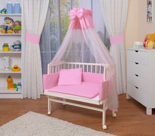 WALDIN Baby Beistellbett mit Matratze und Nestchen, höhen-verstellbar, 16 Modelle wählbar, Buche Massiv-Holz weiß lackiert,Große Liegefläche 90x55cm, rosa