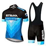 Ropa de ciclismo Maillot Ciclismo Hombre completo camiseta + pantalones cortos 5D Gel Acolchado - Mod01 Azul - XL