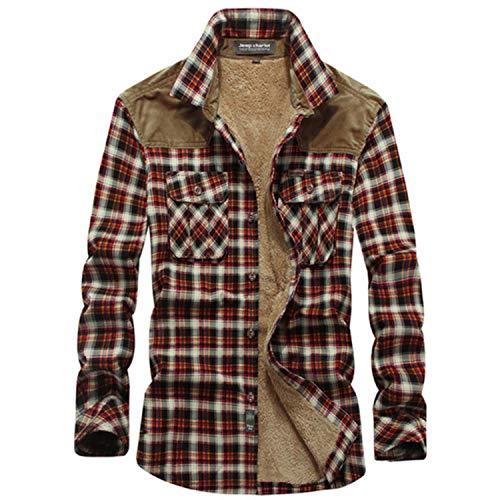 Man Clothing Plaid Shirt Men Wool Fleece Thick Warm Shirts Long Sleeve Casual Shirts Camisa Masculina Harajuku Shirt