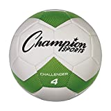 Champion Sports Challenger Soccer Ball, Size 4, Green/White