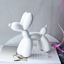تمثال جيف كوون بالون الكلب تمثال مجرد منحوتات أنيقة بالون الكلب الراتنج الحرفية ديكور المنزل هدية 8 × 7.5 × 3 بوصة أبيض 4-...