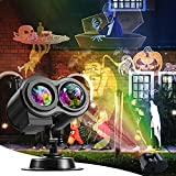 Xhaus Halloween Christmas Projector Lights, 2-in-1 Ocean Wave LED Waterproof Light Outdoor Indoor Light for Halloween Xmas Theme Holiday Party Landscape Decorations (16 Slides 10 Colors)