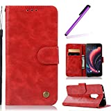 HMTECH HTC One X10 Hülle Vintage Einfarbige Ledertasche Blumen Prägung Flip Standfunktion Karten Slot Magnetverschluß Brieftasche Schalen für HTC One X10,Vintage Pure PU:Red