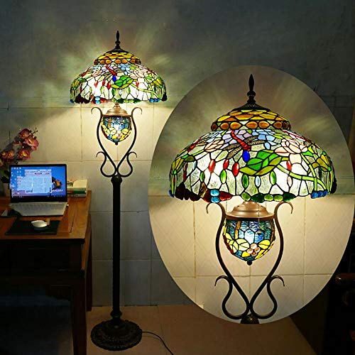 VOMI Ø46CM Vintage Stehlampe Tiffany Wohnzimmer, Schlafzimmer Stehleuchte, Antik Standllampe mit Fußschalter, 165cm, Retro Buntglas Lampenschirm Wohnzimmerlampe, E27 max 40W, Deko Tischlampe