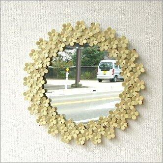 ウォールミラー かわいい 壁掛け鏡 花 フラワー ホワイトアイアンの壁掛けミラー [spc3027]