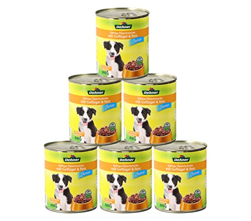 Dehner Hundefutter Junior, Geflügel und Reis, 6 x 800 g (4800 g)