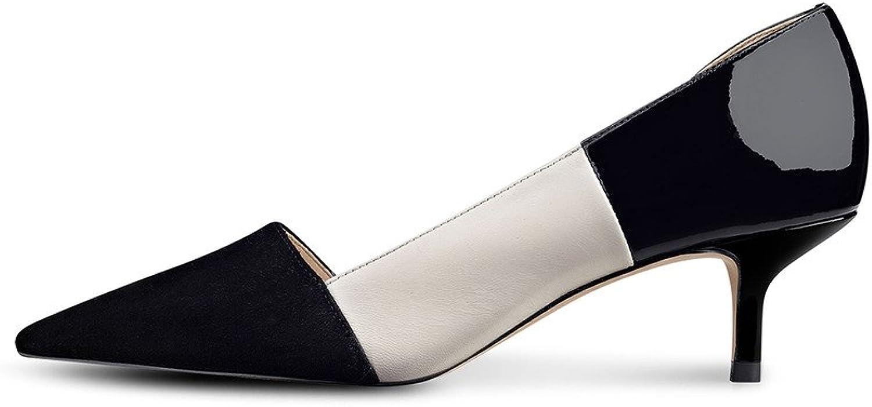 Nancy Jayjii NJPU Women's Pointed Toe Half D'Orsay Kitten Low Heels Pumps for Office Lady Black