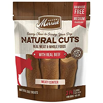 Merrick Natural Cuts Rawhide Free Dog Treats, Large Filled Chew, with Real Beef - 3 ct. Pouch