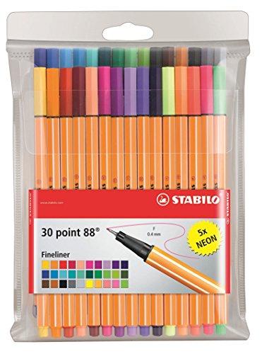 Point 88 Fineliner Pens 0.4m 30 color wallet set