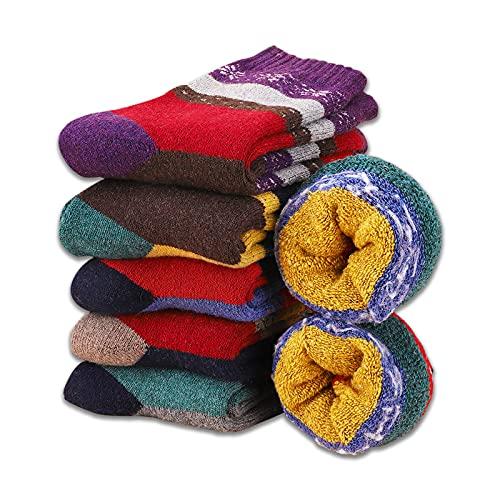 MOSOTECH Damen Warme Socken, 6 Paar Dicke Thermo Wintersocken Verdicken Bunte Stricksocken für...