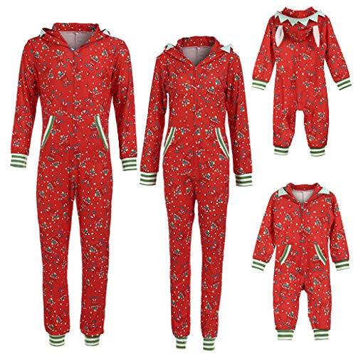 Weihnachten Familie Schlafoverall Jumpsuit Einteiler Schlafanzug Warm Weihnachtspyjama Fun-Nachtwäsche mit Reißverschluss Weihnachtskostüm Geschenk für Damen Herren Kinder