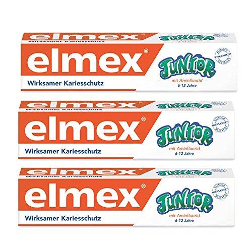 ELMEX Toothpaste Junior 6-12 Years Old 3x75ml, 3x2.5oz by Elmex