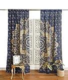 Popular Handicrafts Indian Hippie Bohemian Beautiful Ombre Color Mandala Curtain Panels Blue Gold