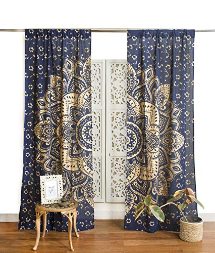 Popular Handicrafts Indian Hippie Bohemian Beautiful Ombre Color Mandala Curtain Panels Blue Gold
