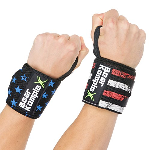 Wrist Support Band Wraps for Weightlifting: Stabilizer Grip for Right / Left Hand with Thumb Hooks - Workout Wraps for Crossfit, Strength Training, Power Lifting and More - 18 Inch Pair, Stars&Stripes
