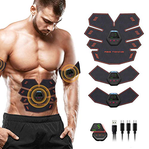 ZunBo Elettrostimolatore Muscolare EMS Stimolatore Muscolare USB Ricaricabile,Professionale Cintura per Addominali con stimolazione Muscolare Uomo Donna, 6 modalità e 10 Frequenza