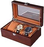 MU Caja de reloj de madera Cajas de joyería Hombre Mujer Regalo Viaje Pino Pintura de vidrio Techo corredizo Caja de almacenamiento 20 * 12 * 8.5Cm