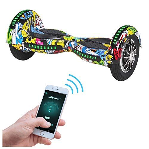 Robway W3 Hoverboard - Das Original - Samsung Marken Akku - Self Balance - 22 Farben - Bluetooth - 2 x 400 Watt Motor - 10 Zoll Luftreifen (Grün Chrom)