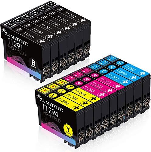 Sumedtec - Pack15 x Cartuchos compatibles para Epson T1291 T1292 T1293 T1294 Compatible con Epson Stylus SX235W SX445W SX425W SX430W SX435W SX535WD BX305FW(6 Negro,3 Cian,3 Magenta,3 Amarillo)