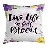 Funda de Almohada Vive la vida llena de flores Palabras motivacionales con estampado de violetas flo...
