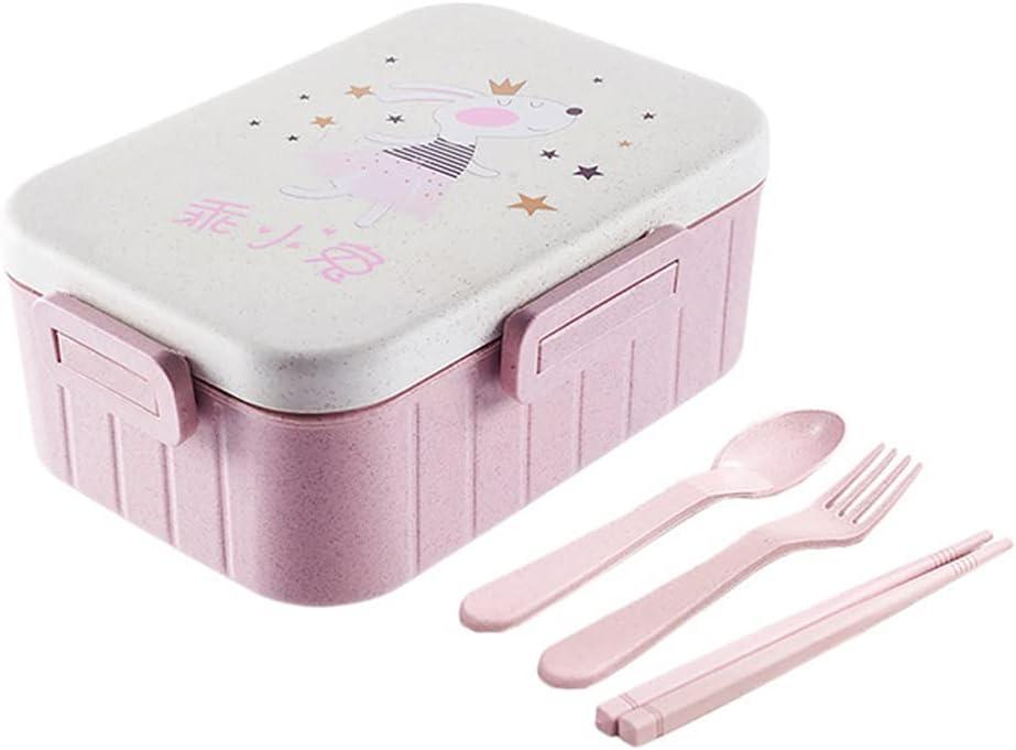 Caja de almuerzo para niños, Bento Box para niño con 2 compartimentos y vajilla (palillos, cucharas, tenedores), adecuado para microondas y lavavajillas