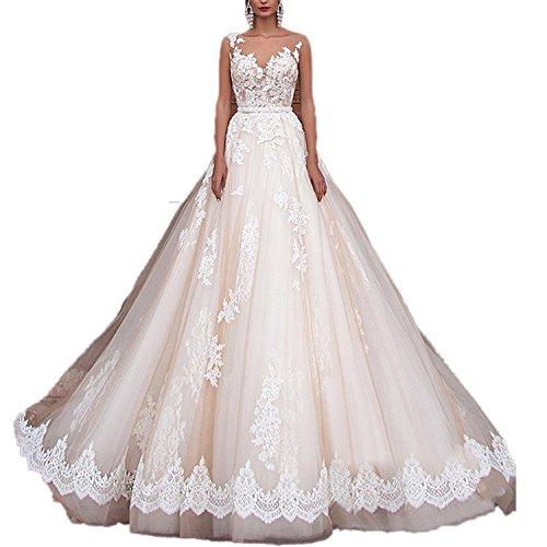 CoCogirls Sexy A-Line Spitze Applique Jahrgang Hochzeitskleid Romantisch Brautkleid Brautkleider (36, Champagne)