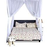 COSTWAY Moskitonetz für Doppelbett, Mückennetz aus Polyester, Bett Fliegennetz, Betthimmel inkl. Haken, Bettdekoration 220 x 200 x 210 cm(Weiß) - 10
