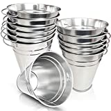 ArtCreativity Large Galvanized Metal Buckets with Handles - Set of 12 - 5 Inch Metallic Pails - Rustic Wedding Decorations, Centerpieces for Party, Decorative Ice Buckets, Vase, Garden Planters