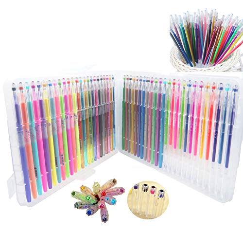 Ultra Fine 96 Colors Gel Pens with Diamond Tip & Gel Pen Refills, Coloring Marker with Case, Greater for Crafting, Doodling, Drawing, Kids and Adult Coloring Book (Glitter, Neon, Pastel, Metallic)
