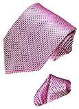 LORENZO CANA - 2 er Marken Krawatten Set 100% Seide - Festlicher Binder mit Einstecktuch Rosa Rose Fischgrat - 4201401