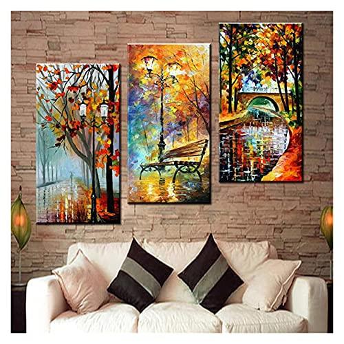 3 piezas de lienzo para pared para carteles de sala de estar, 3 paneles, arte de pared, decoración de pared, regalo de cumpleaños, silla abstracta puente (tamaño: 50 x 70 x 3 piezas)