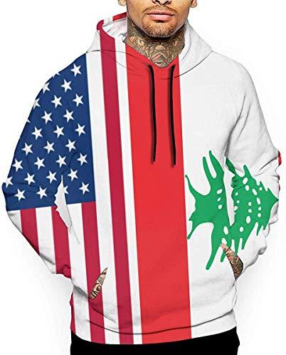 DLing Herren 3D Sweatshirts Pullover Drucken Hoodies Amerikanische Flagge-Flagge des Libanon,XL