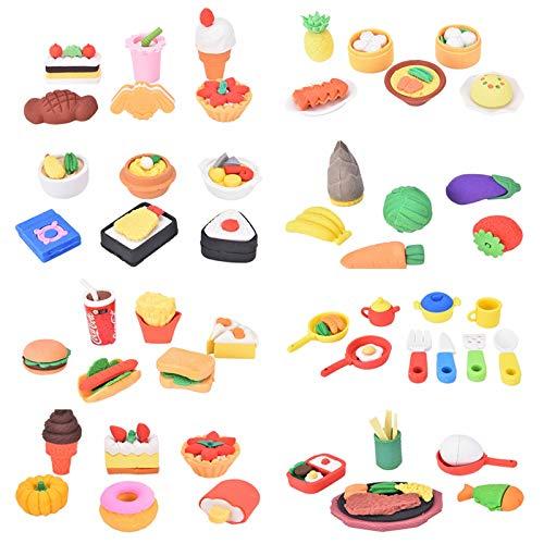 Oyfel Gomas de Borrar para Lápiz Forma de Comida Helado Pastel Divertido Niños Set de gomas de borrar 3D 4 unidades diseño de comida hamburguesa cola perrito caliente sándwich