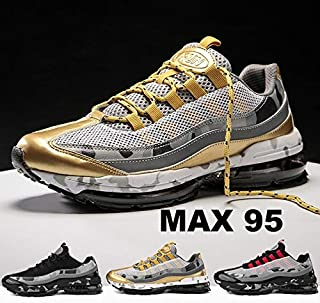 Men's Athletic Running Shoes Breathable Sport Air Fitness Gym Jogging Sneakers(Gold,US 8.5)