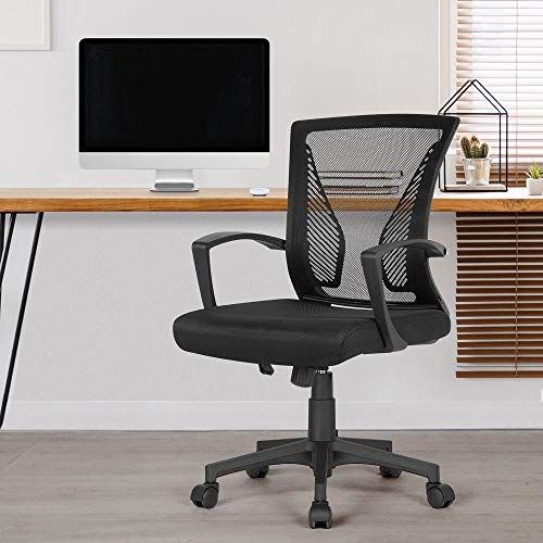 Yaheetech Chaise de Bureau à Roulettes Pivotante Fauteuil pour Ordinateur en Maille Mesh Hauteur Réglable Inclinable Ergonomique Noir