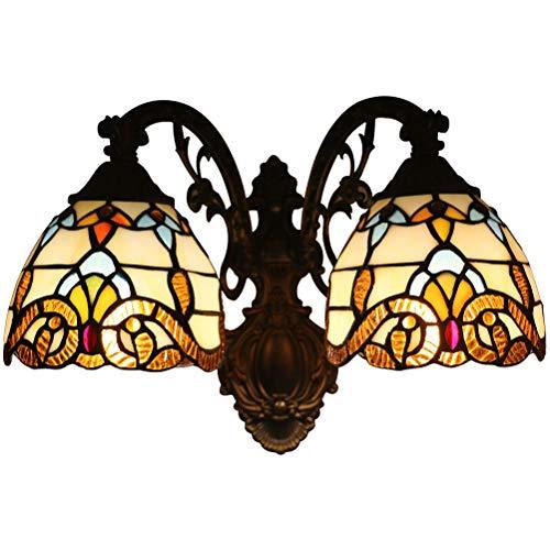 Odziezet Aplique Tiffany Lamp Vintage Mini Lámpara de Pared Iluminación para Interior y Exterior Marrón 2 Lámparas
