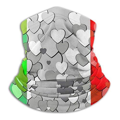 LAURE Polaina del cuello, bandera italiana hecha de la bufanda de la polaina del cuello de los corazones, fresco a prueba de viento ligero