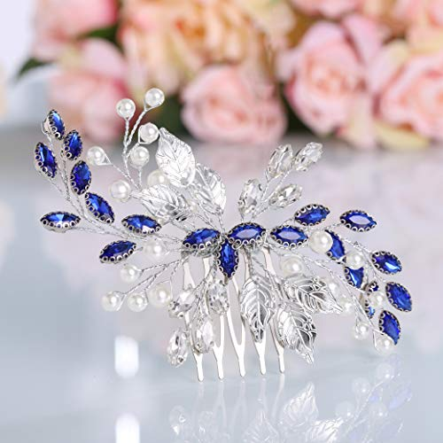 Simsly Braut Hochzeit Blau Kristall Haarkamm Silber Brautschmuck Perle Haarschmuck für Frauen und Mädchen