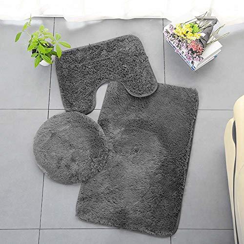ETOPARS Einfarbiger Badteppich 3 Stück Weiche saugfähige, rutschfeste Badematte Teppiche & Toilettendeckelabdeckungsset Waschbar, tiefgrau