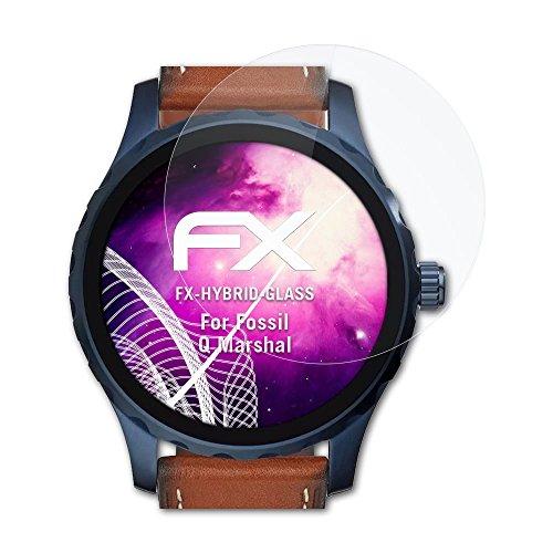 atFoliX Glasfolie kompatibel mit Fossil Q Marshal Panzerfolie, 9H Hybrid-Glass FX Schutzpanzer Folie