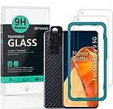 Ibywind Cristal Templado para OnePlus 9, [2 Piezas],con Protector de Lente de Cámara(Negro),Atrás Pegatina Protectora Fibra de Carbono,Incluyendo Kit de instalación fácil