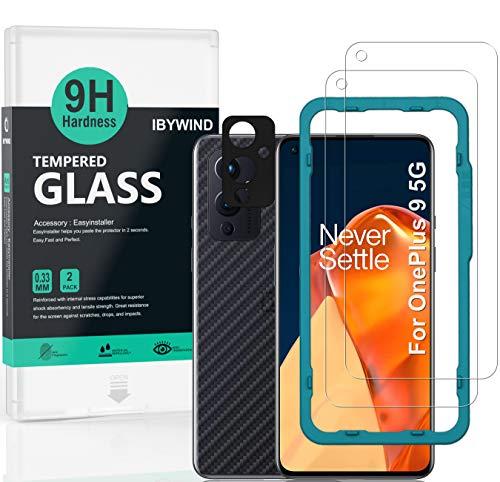 Ibywind Vetro Temperato per OnePlus 9, [Confezione da 2] con Metallo Protezione Obiettivo Fotocamera,Skin in Stile Fibra di Carbonio per Il Retro,Include Kit di Installazione Facilitata