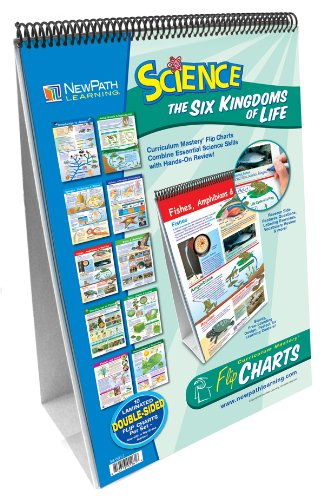 NewPath Learning 10 Piece Science Six Kingdoms of Life Curriculum Mastery Flip Chart Set, Grade 6-9
