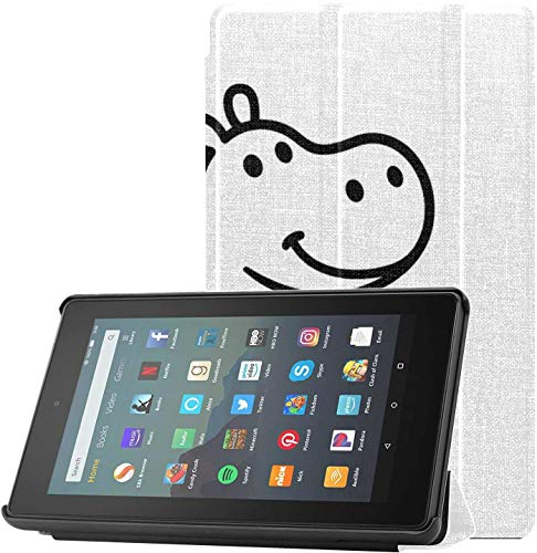 Cover LightweightKindleCase Friendly Passionate Positive Hippo 2019Fire7TabletCase for Fire 7 Tablet (9th Generation, 2019 Release) Lightweight with Auto Sleep/Wake