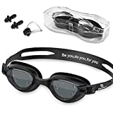 Swim Goggles - Swimming Goggles with Nose Clip + Ear Plugs, Anti Fog for Adult Men Women Youth (Black)