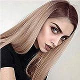 AOMOSA Ombre Blonde or longues perruques droites pour femmes racines foncées partie médiane résistant à la chaleur synthétique pleine perruque 26 pouces